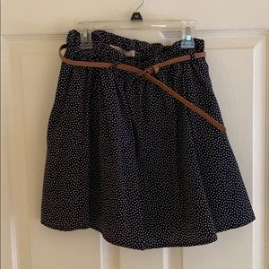 Navy polka dot mini skirt with belt